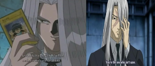 <b>I think Peggy J.Crawford From Yu-Gi-Oh (Right) and Byaku From Kekkaishi (Left),They both have grey hair,they both have hair covering one eye and they both have been an antagonist at one time.</b>