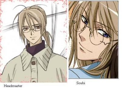 soubi agatsuma (loveless) and head master kuvuka, msalaba (vampire knight) i only could find one with a drawing of the head master but it's good