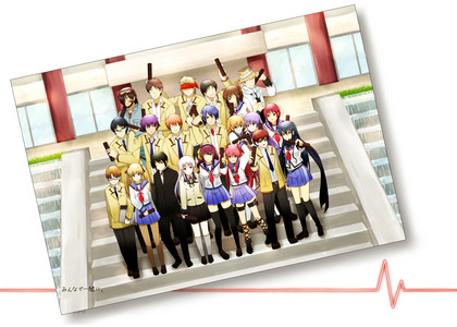 Angel Beats Graduation pic ^_^ (one of my favs) te should check out http://www.zerochan.net for really awesome Anime wallpaper in the future ~.~