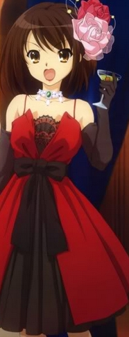 <b>Here&#39;s a Picture of Haruhi-chan from the Melancholy of Haruhi Suzumiya wearing a red dress!:)</b>