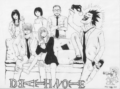 The Yagami family! And.... Ryuk... in a suit......