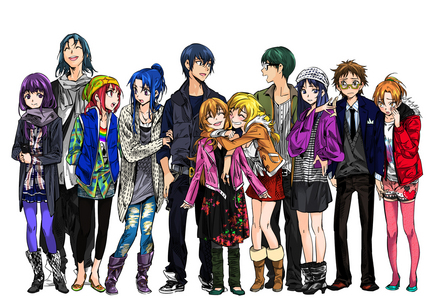 all of the Toradora cast out of costume ^_^