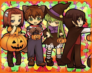 Kallen, C.C., Suzaku, and Lelouch all dressed up for Halloween!