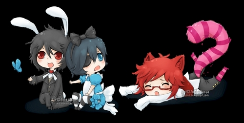 so cute xD But they don't usually wear stuff like this. Black Butler -- Sebastion, Ciel, and Grell<3