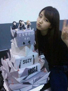 Suzy with her birthday cake :D <3<3