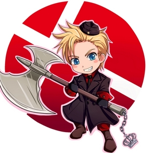 <b>Denmark from Hetalia! he has Blonde hair and Blue Eyes!</b>