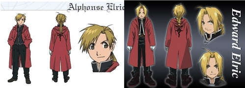 Edward and Alphonse Elric! IDK why they were put in the same outfit though........But Al is on the left and Ed is on the right ^^