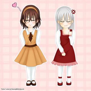 Zero and Kaname as girls