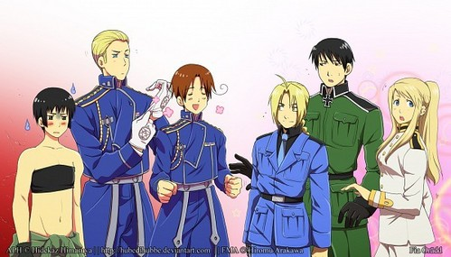 Roy: Can I have my clothes back? Germany: Don't look at me, this was Italy's idea... Japan: Why am I wearing a gir's crothes? Winry: Who cares? I just found out that I look hot in anything! Ed: This is pretty cool! These clothes make me look taller! X3 Italy: I've always wanted to wear military clothes~!