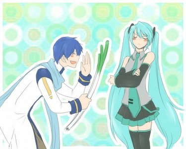 um, that's Miku Hatsune and the blue haired boy is Kaito, and they aren't siblings.