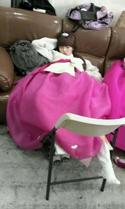 Hyuna :D sleeping in a pink hanbok :D <3