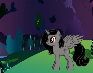yes it's mexD. My name is Midnight Shadow some ponies think I am evil because I have red eyes like my sister Vinyl Scratch but I am really nice ngựa con, ngựa, pony that likes to see lightning flash!:D I have red eyes black mane and tail and a grey áo, áo khoác wings and a horn:D My cutie mark is a moon if bạn can't see it:3