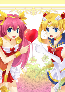 a sailor moon and wedding आड़ू, पीच crossover (i dont actually watch wedding peach, but the pic looked cute) :)