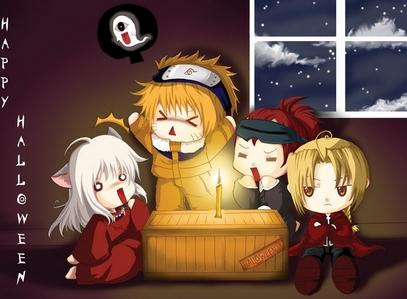 <b>Ooh here's one!Chibi Inuyasha,Naruto,Renji and my Pint Sized Homeboy (Ed) celebrating Halloween!:D</b>