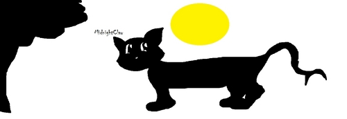 "Name: MidnightClaw Moons: 23 (FYI XD) Bio: - Eye color: Black - Fur: Black - Gender: Male Personality: He is micheveous Warrior Cat. He loves battles. Everytime, he always wins. He can slice, cut and slash others por using its crescent moon-like tail. He actives in midnight. His pele, peles can used to camouflaging and confusing others. When in a battle, sometimes he can dissapears when the others are look at him. And appears back on other side. That's why he can be ""Tricky"" one Family Members: MidnightShade Clan: ShadowClan Here is the pic that I made in Paint. Hope u like mah jify"