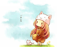 Megurine Luka wearing her Toeto hat, with a cat.