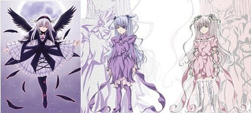 Suigintou, Barasuishou and Kirakishou from Rozen Maiden.