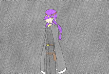 This. I really need to learn how to make the rain work. xD ...And I just realized that her hair isn't going with the wind direction. TwT Ah well, I'll change that later.