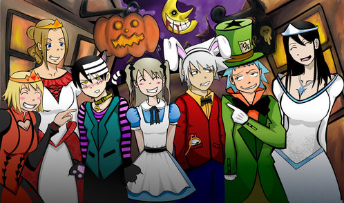 soul eater i will tell them in order : patty and liz ( sisters ) death the kid maka soul black estrella and Tsubaki :)