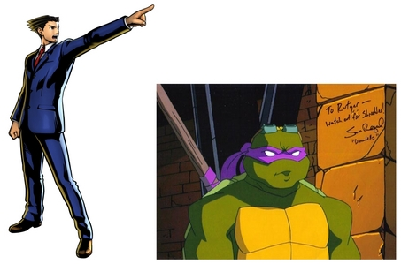 Apparently, in Ultimate Marvel Vs. Capcom 3, Phoenix Wright is being voiced sejak Sam Riegel. Took me a while to realize it, but he's the same guy who voiced Donatello in the Teenage Mutant Ninja Turtles 2003 cartoon.