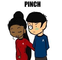 Uhura and Spock in the 2009 звезда Trek movie :]