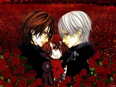Lotsa roses here ^^. Vampire knight, Kaname, Yuki, Zero.