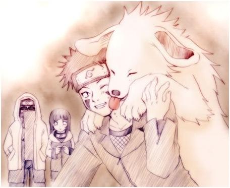 Kiba, Hinata and Shino with Akamaru