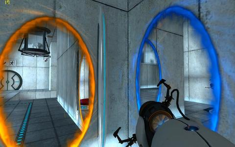 Portal is a single-player first-person puzzle-platform video game developed によって Valve Corporation. In Portal, the player controls the protagonist, Chell, from a first-person perspective as she is challenged to navigate through a series of rooms using the Aperture Science Handheld Portal Device (portal gun または ASHPD). The portal gun can create two distinct portal ends, オレンジ and blue. The portals create a visual and physical connection between two different locations in three-dimensional space. Neither end is specifically an entrance または exit; all objects that travel through one portal will exit through the other. An important aspect of the game's physics is momentum redirection. As moving objects pass through portals, they come through the exit portal at the same direction as the exit portal is facing and with the same speed with which they passed through the entrance portal.