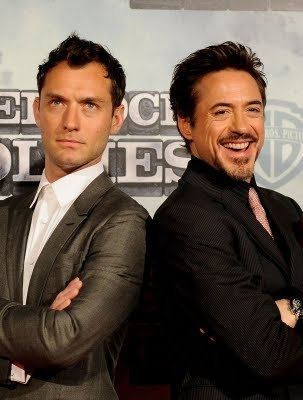 My biggest crush right now is a tie between Robert Downey Jr and Jude Law so I am posting a pic with them both because they are just so hot right now!
