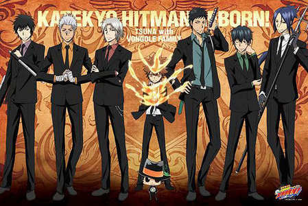 Katekyo Hitman Reborn! -it's about Tsunayoshi Sawada(Tsuna) who is really the boss of one of the most powerful mafias and as he lives his life with his guardians: rain, storm, mist, cloud, sun, lightning and sky(Sky is for the boss) they start to battle the Vongolas enemies and yeah....just watch it I'm getting too lazy to type This pic is the 10th Generation Guardians in the Future:P