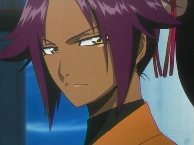 my favorito color is purple!this pic is from bleach and she is yoruichi shihoin!