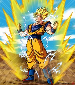 here is son goku from dragon ball  z he is the main character and he is so much powerful and he can transform in many looks and become stronger 