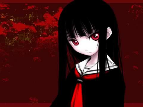 Post a pic of a girl with black hair and red eyes anime - Red and black anime ...