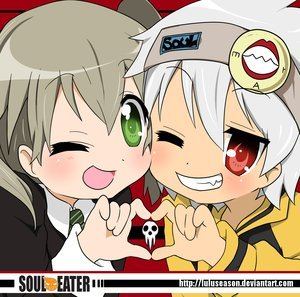 SOUL AND MAKA!! FROM SOUL EATER!!! =) they should of kissed in the عملی حکمت =P