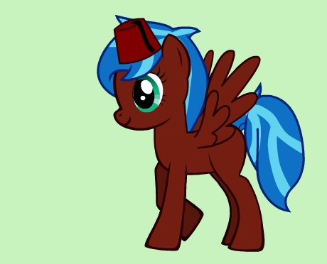 My pony's name is Aurora, and she is a nice, fun-loving pony. She loves putting together unique and slightly eccentric outfits for herself, but most often just wears a fez. Nopony's really asked her about it. Her cutie mark would be a multicolored kreis to represent her odd yet original style.