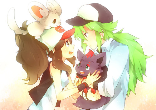 N and Hilda from Pokemon, even though they aren't and official couple, but I love them together! :3