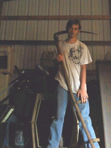 A redneck wielding a sythe...