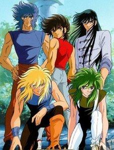 bahagian, atas - Down form the left: - Tofan as Ikki - Tony as Seiya - Arya as Shiryu - Teddy as Hyoga - Me as Shun