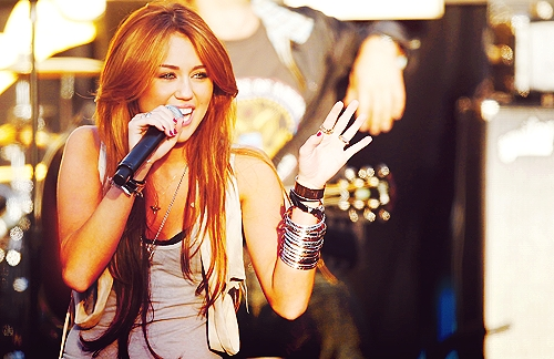 Miley with a microphone :)