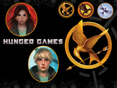 well... mine is of the HUNGER GAMES which i looooove. they are the best libros out :D