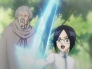 Uryuu Ishida with his grandfather.  He's from Bleach btw.