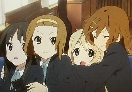 <b>Hmm,one that comes to mind is K-ON!,the main characters are all girls,the only male character in is Ritsu-chan's younger brother Satoshi..who is a minor character,but still all the main characters are girls,so my choice is K-On!<3</b>