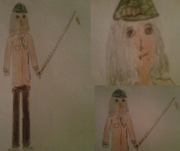 It's supposed to be of me, I did it while free-drawing in art class. Also it looks sort of like a female, young version of my dad (what with the way I dress, the fishing rod, the gray hair and the length of it...) but it doesn't matter. Yes my eyes are literally that droopy, I'm not drunk o high. The weird things da my nose and mouth are my piercings. But it really does look surprisingly like me if te think about it....
