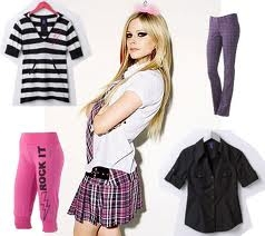 avril lavigne wearing abbey dawn clothes with abbey dawn clothes beside her