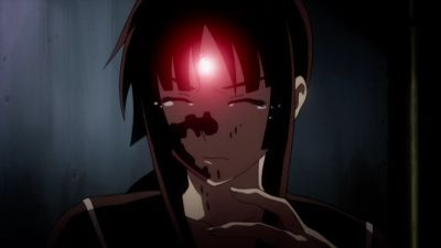 Yomi and the Death Stone. She's crying since she just realized that (while possessed door zei Death Stone) she killed her most loved person's father right in front of their eyes. And she's also covered in his blood. :)