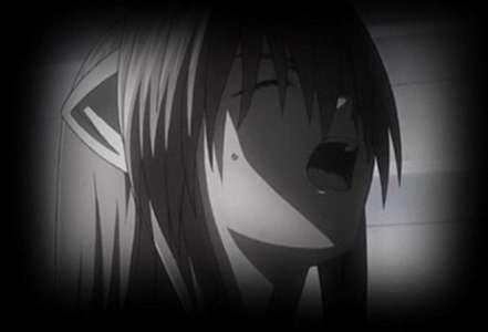 Lucy from Elfen Lied. She is a kid here. She was trying to protect a girl from getting killed, a girl she could trust and become 프렌즈 with. Until she protected Lucy from getting shot. Lucy cries in pain for the loss of her new friend. ... Her only friend.