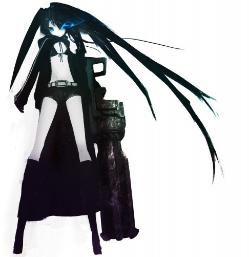 Black Rock Shooter but she looks 더 많이 bad 나귀, 엉덩이 then a super hero though XD