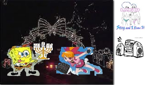 "Spongebob Squarepants is fighting with a menorah and Momoko (Blossom from PPGZ)is fighting with a blanket at the Hartford Holiday Light Fantasia with LMFAO ""I'm Sexy and I Know it"" playing in the background."