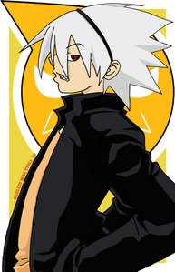 Soul Eater Evans! I would usually put Death the Kid, but his hair is black with white stripes... not white hair... :(