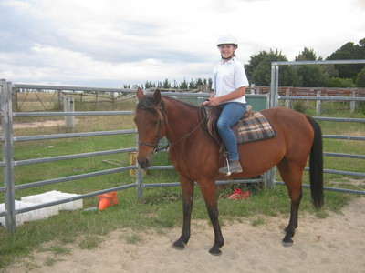 My new horse Jess, she is so beautiful The girl riding her is my cousin